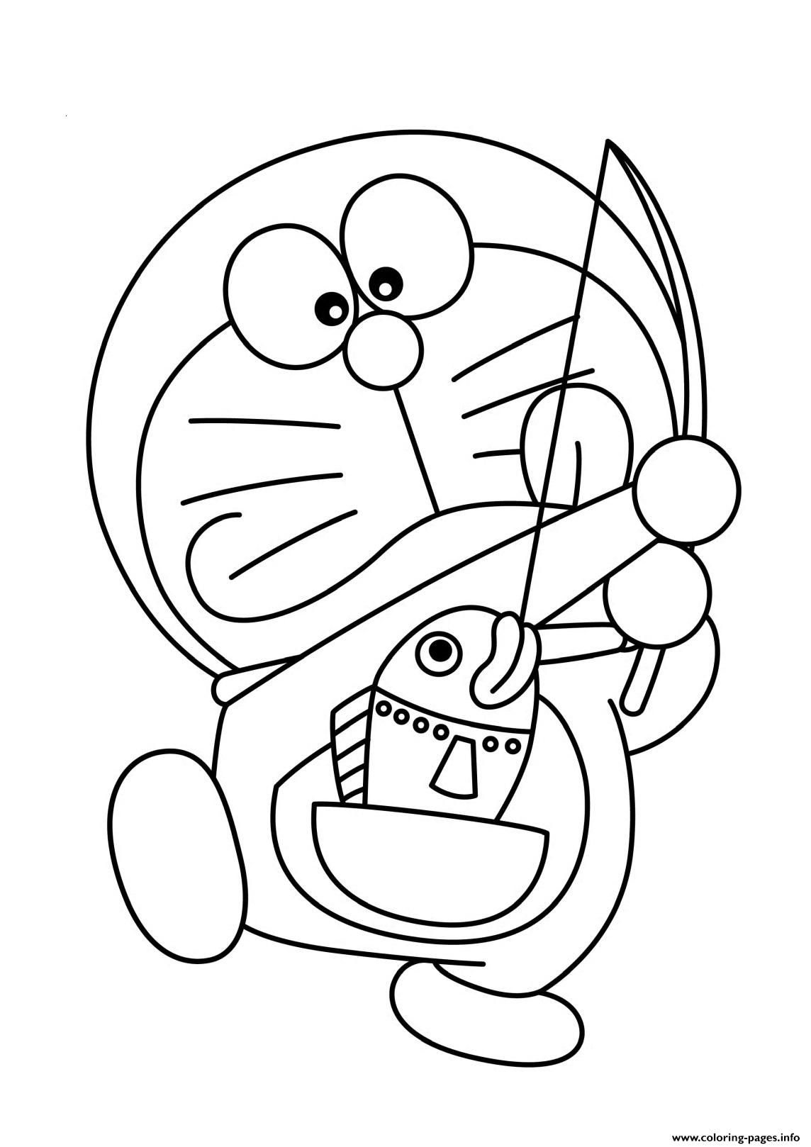 Print Doraemon Fishing From His Pocket503c Coloring Pages