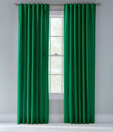 Jasper Faux Silk Lined Back Tab Curtains Pair Emerald Green Sitting Room Decor Green Home Decor Green Curtains