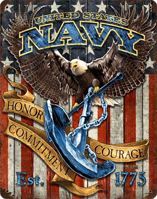 Us Navy Fighting Eagle Vintage Steel Wall Sign Decorate Your Home Or Office With This Heavyweight 24 Gauge Sporting A Sy Design And