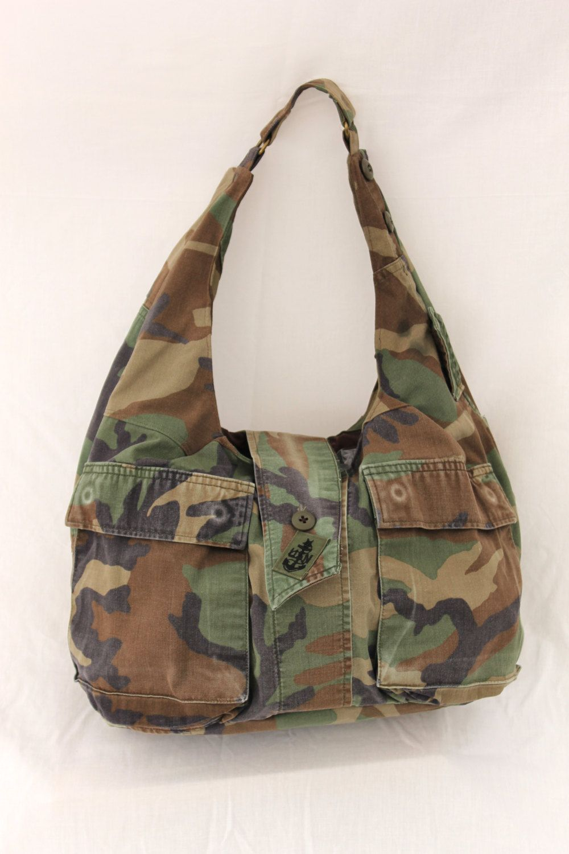 bdfe78e20 Large Military Bag, Hobo Bag, Upcycled US Navy Military Uniform by  moonbeamseams on Etsy