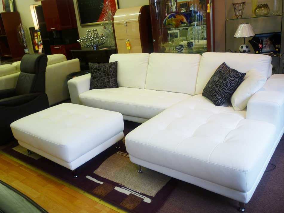 White leather sofa Pagoda | Leather Sectionals | House to Home ...