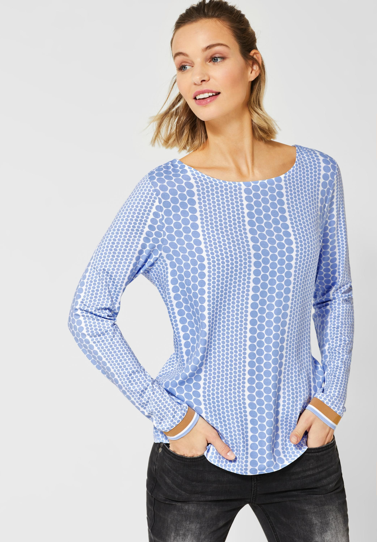 T-Shirt mit Streifen Muster in Deep Blue CECIL