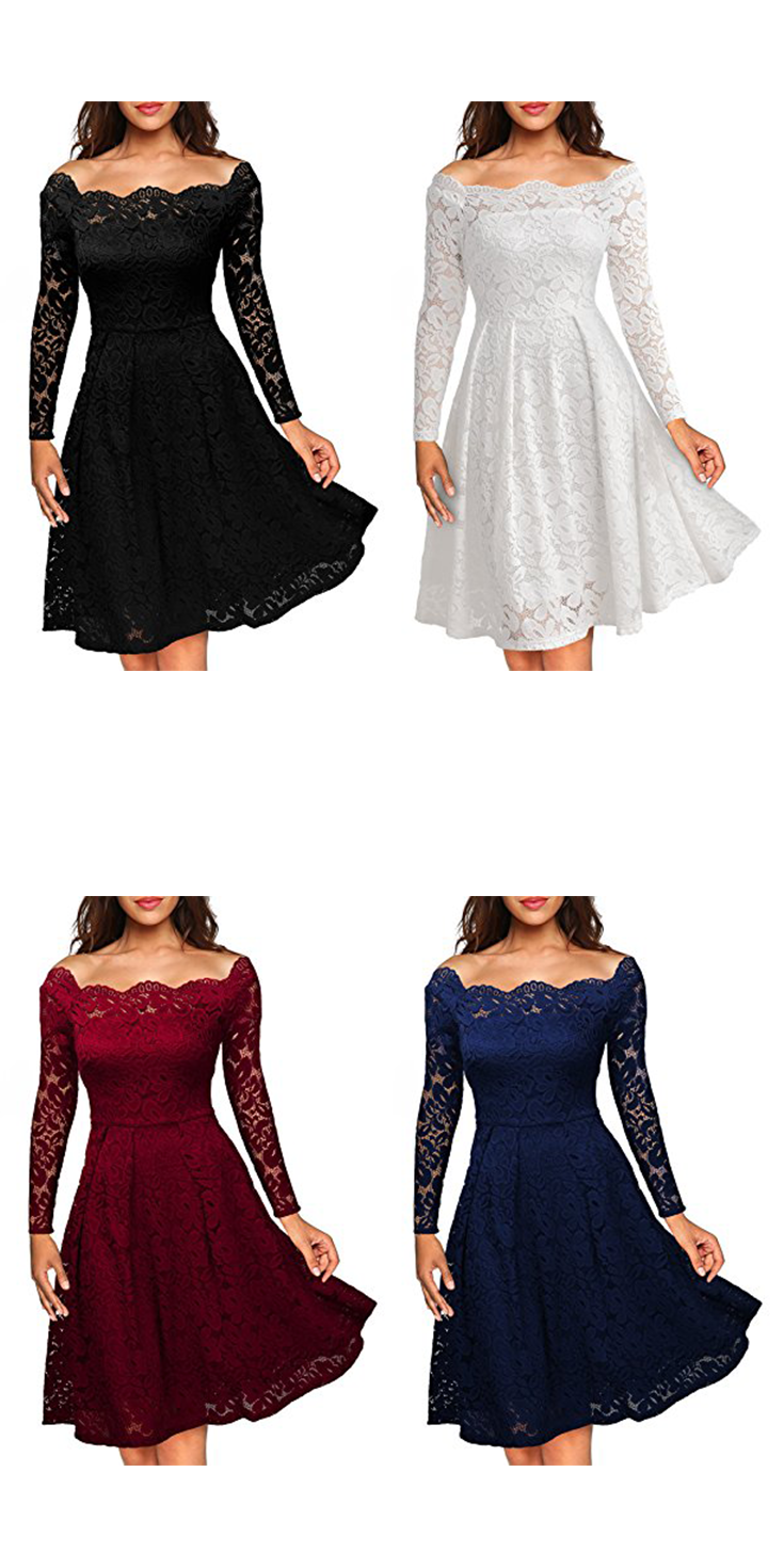 69f8b97a6860 MissMay Women's Vintage Floral Lace Long Sleeve Boat Neck Cocktail Formal  Swing Dress $35.99 USD