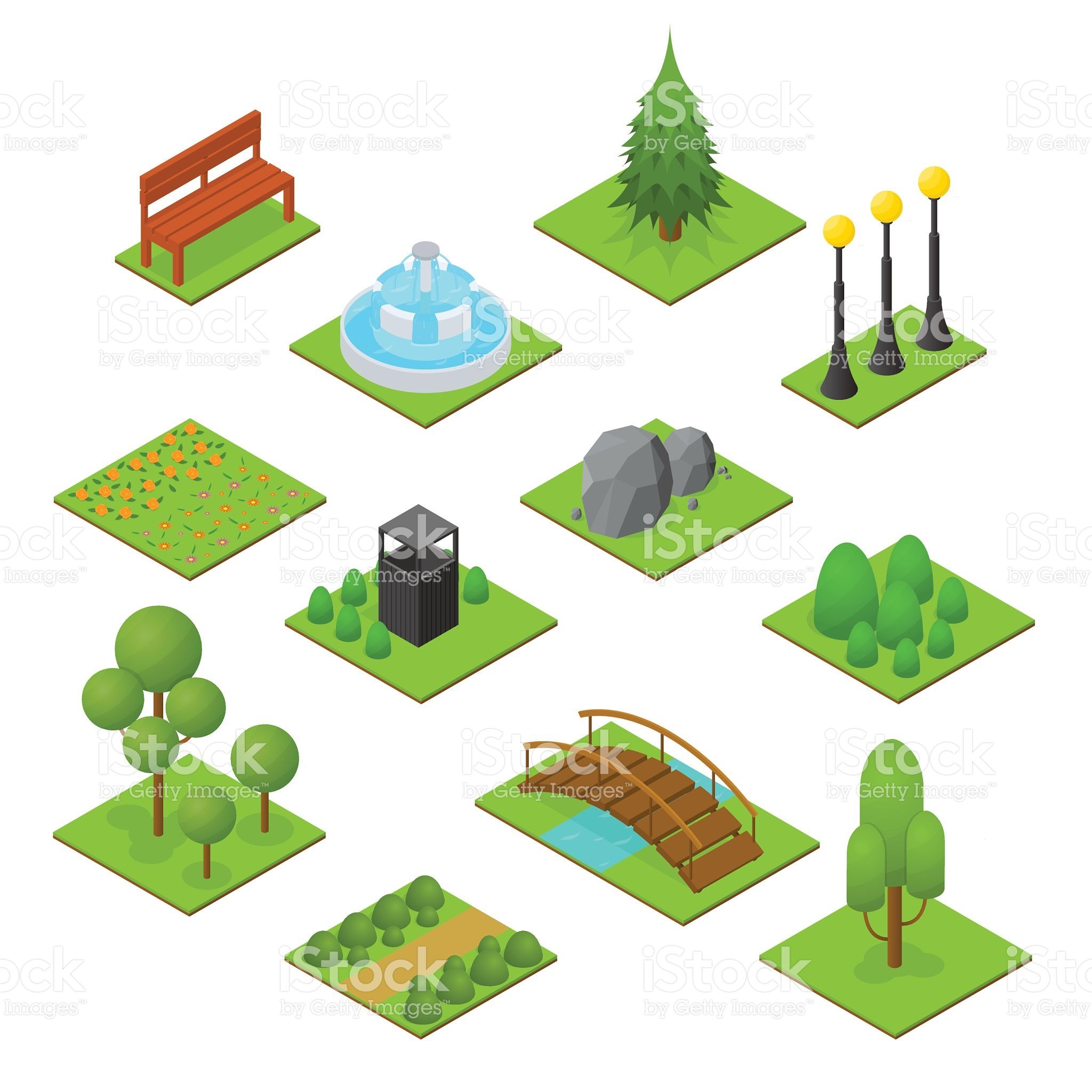 Park Set Isometric View Design Element for Garden Landscape. Vector... ベクター