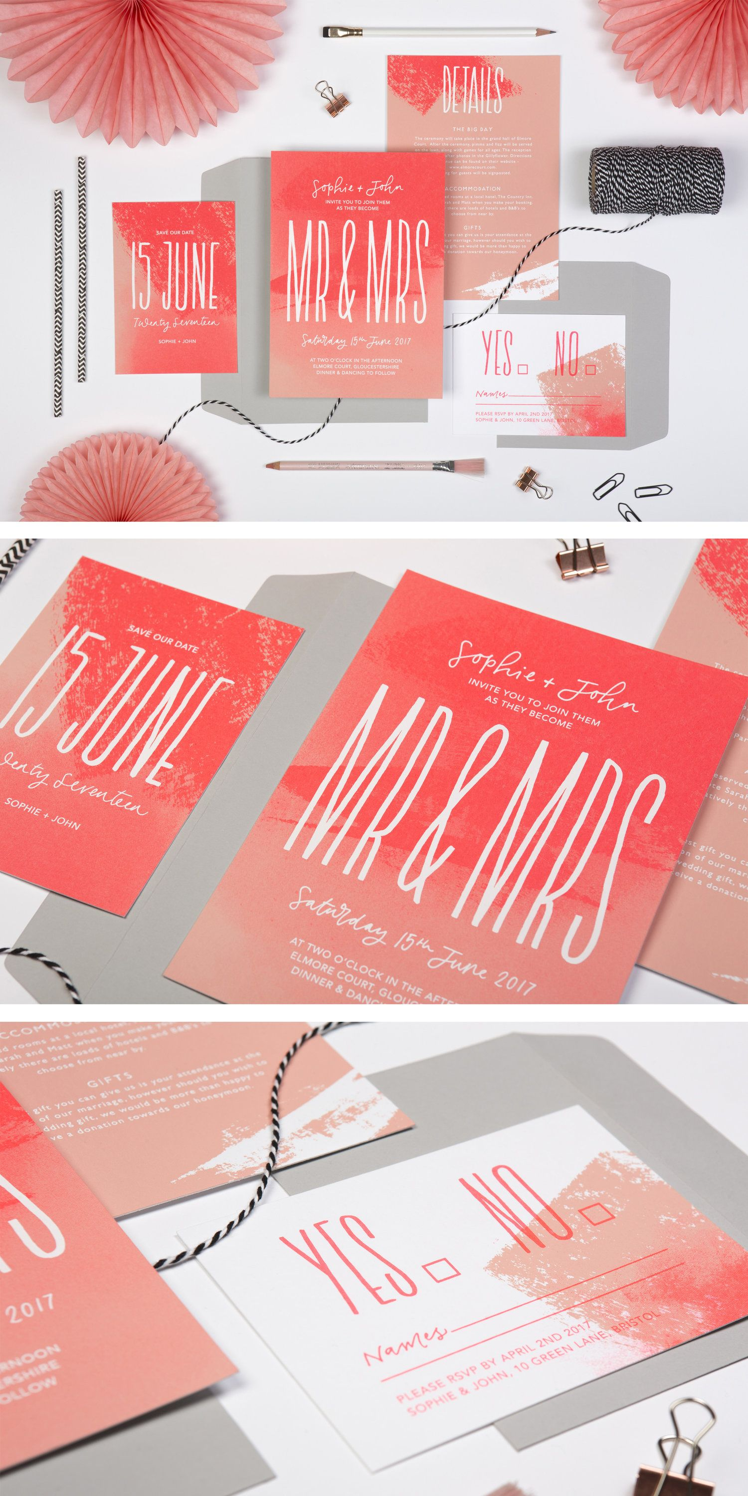 mr and mrs screen-printed neon modern wedding invitations | NEON ...