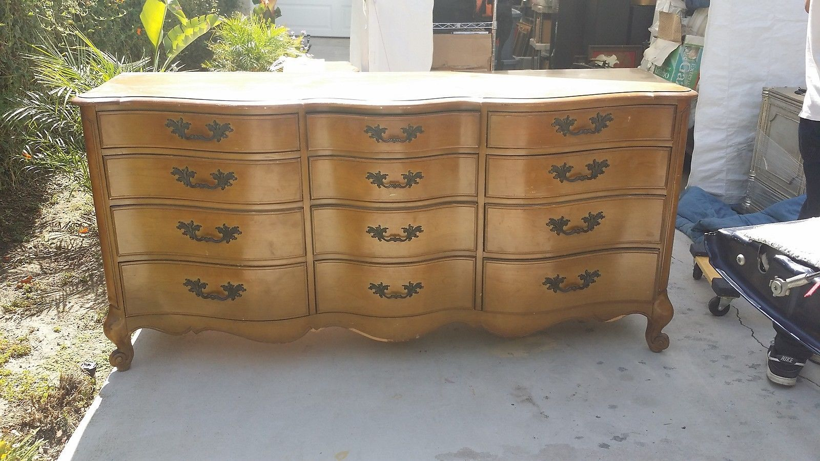 Vintage French Provincial Style Solid Blond Maple Wood Dresser With