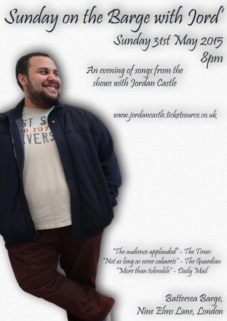 'Sunday on the Barge with Jord' May 31st on Battersea Barge. Join Jordan for an evening of music on the Thames. It's all in aid of raising money for drama school. There'll be sun, sea/river, songs and a bar. What more could you want on a summer Sunday? Tickets https://www.ticketsource.co.uk/jordancastle.