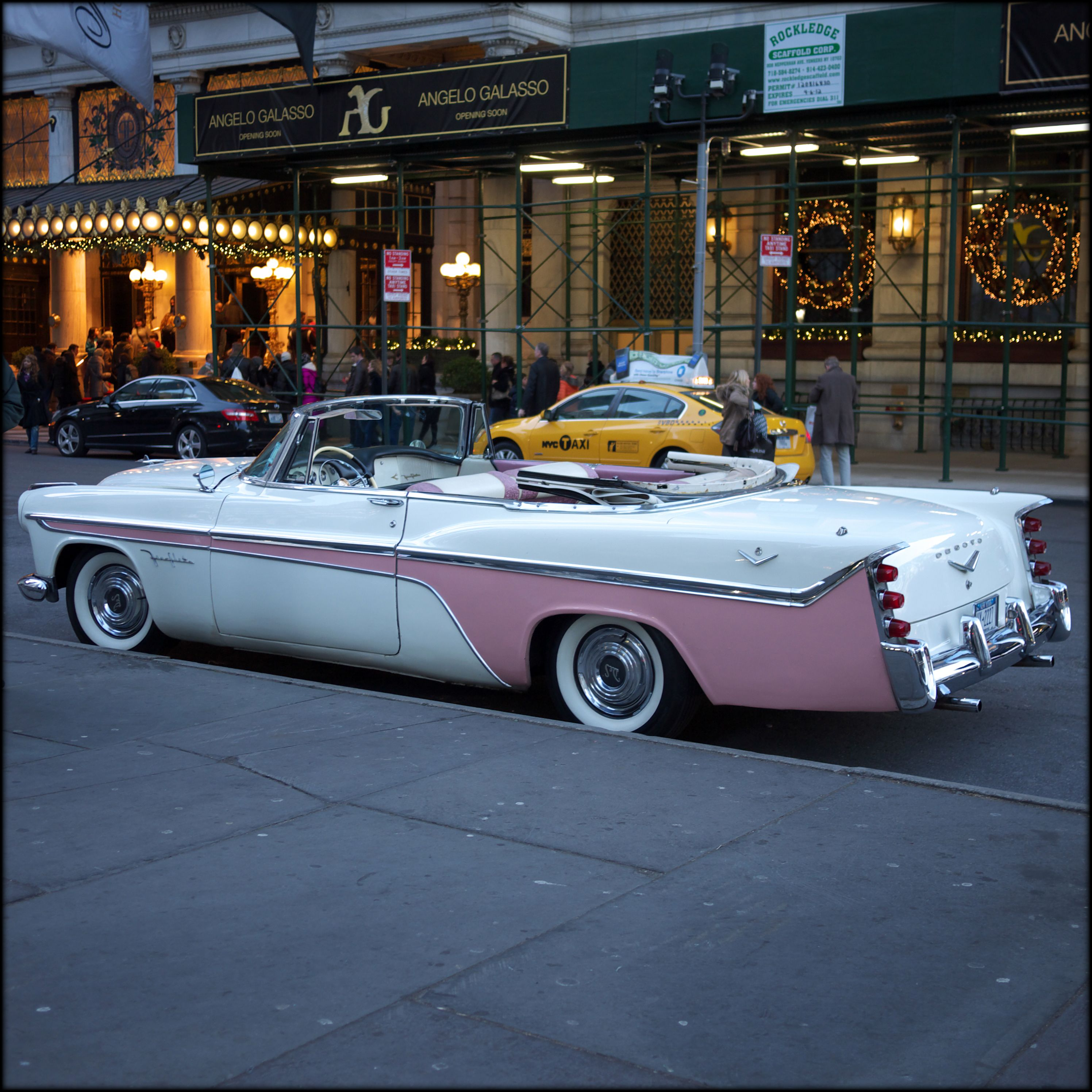 1950's car outside Plaza Hotel.