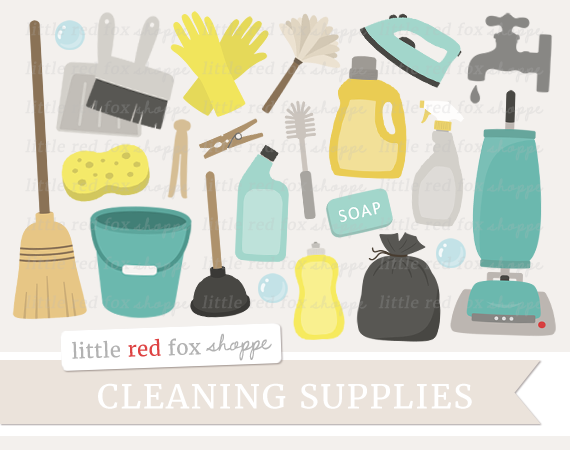 Cleaning Supplies Clipart By Little Red Fox Shoppe Digital Graphic Design Clip Art Cleaning Supplies