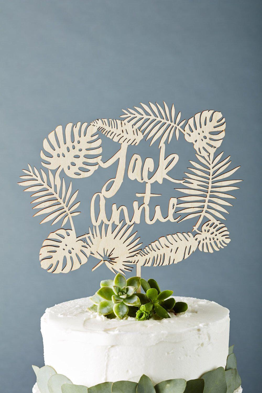 Custom tropical wedding cake topper monstera cake topper wooden