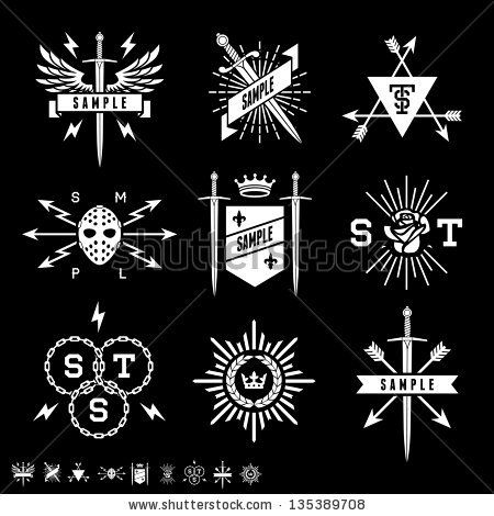 vintage labels with shield, sword, arrow, crown by Ezepov Dmitry, via Shutterstock