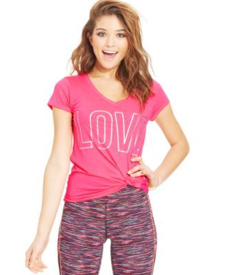 Material Girl Active Juniors' Printed Lace-Back Tee