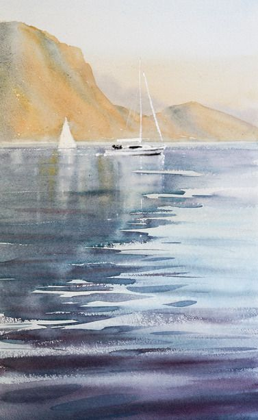 Sailboat on the lake - Watercolor painting by Emmanuele Cammarano