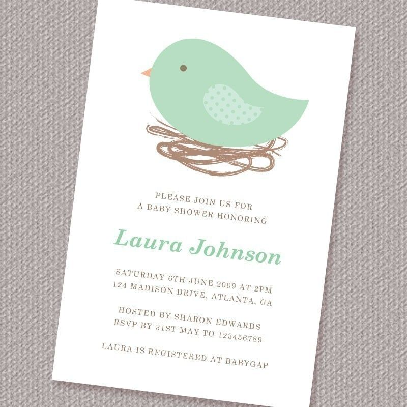 Bird Nest Neutral Baby Shower Invitation Printable Personalized ...