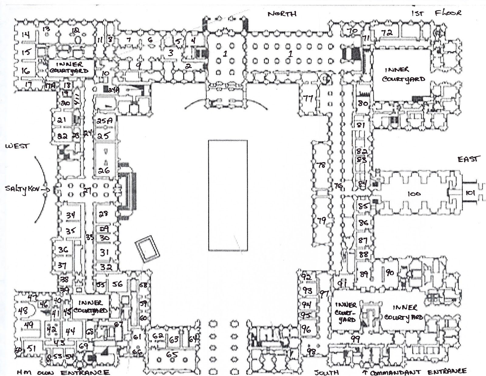 Plan List Of The 1st Floor Of The Winter Palace Winter Palace Castle Floor Plan Winter Palace St Petersburg