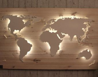 wooden world map illuminated with 3d effect 49 2 x 24 inch mauch unique handmade