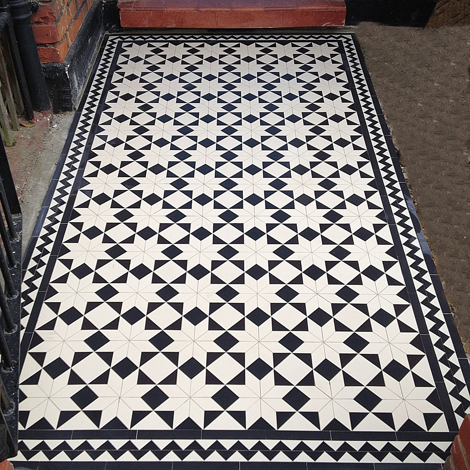 Victorian Black And White Mosaic Tile Front Garden Path