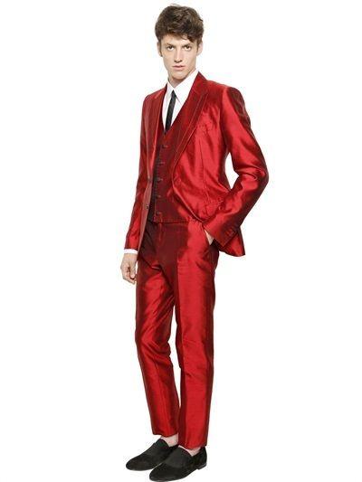 ff03bf9ec652 Silk Shantung 3 Piece Suit | Fashion on SALE | Dolce, gabbana man, 3 ...