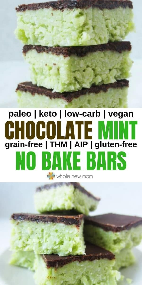 These Grasshopper Bars are great in so many ways – they're chocolate mint bars that taste like thin mint or grasshopper cookies – the perfect flavor combo! They're also low carb, grain free, AIP compliant, and vegan – so many real food attributes & healthy ingredients that they're really good for you!