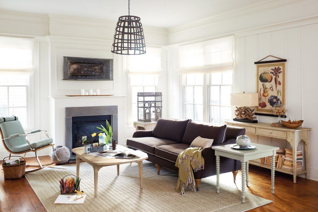Cage light transforms the room midcentury modern