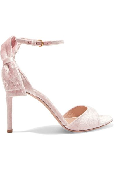 956e5063c56b Heel measures approximately 85mm  3.5 inches Blush velvet Buckle-fastening  ankle strap Designer color  Poudre Made in ItalyLarge to size.