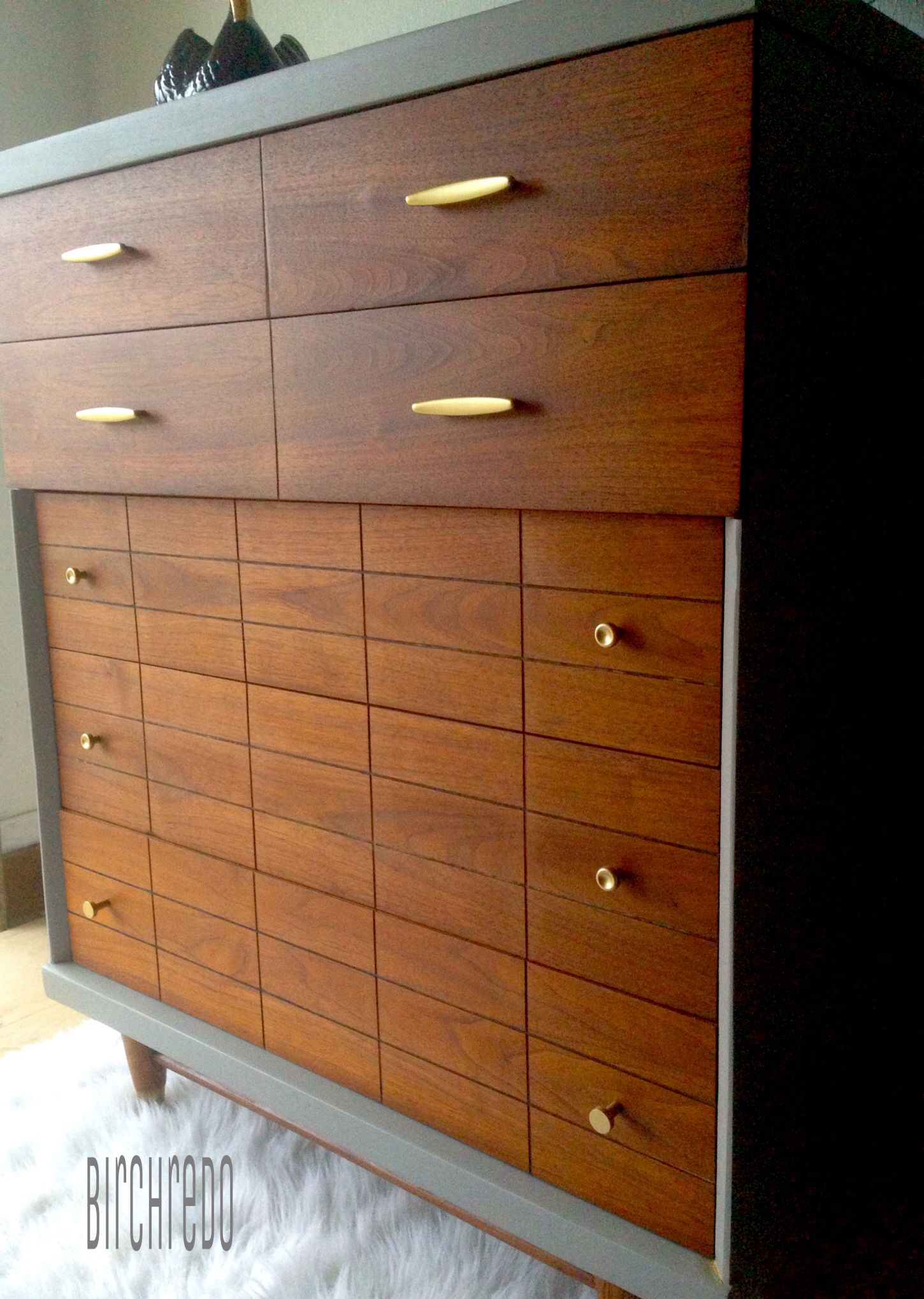 Mid Century Modern Harmony House Dresser Refinished Walnut Stain And Sherwin Williams Dovetail Grey By Bir Harmony House Dresser Refinish Repurposed Furniture