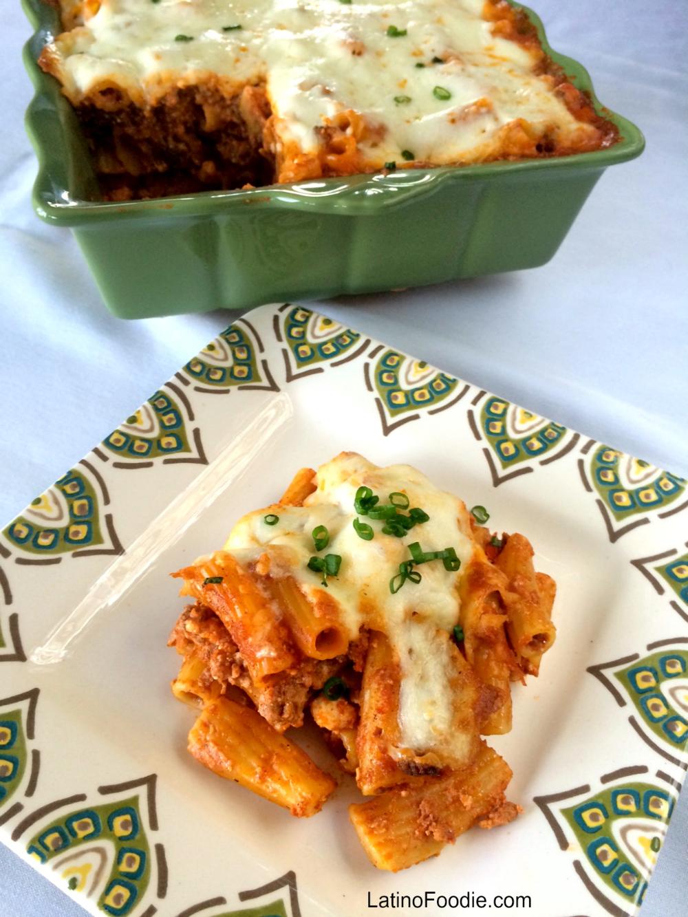 BEEF AND CHORIZO BAKED PASTA WITH TOMATO CREAM SAUCE #Saucesome - Latino Foodie #tomatocreamsauces