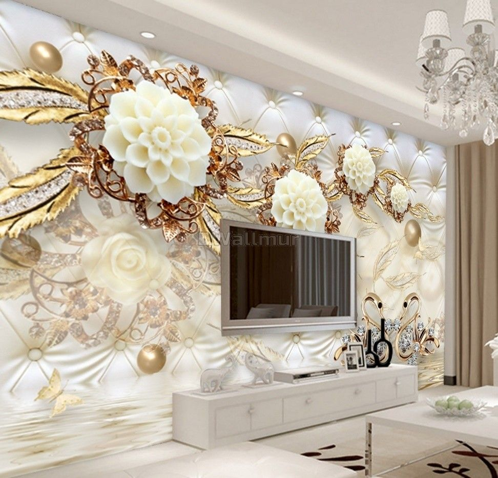 Gold Swan With Peony Floral Wallpaper Mural In 2020 3d Wallpaper Home Room Wallpaper Wall Painting Living Room