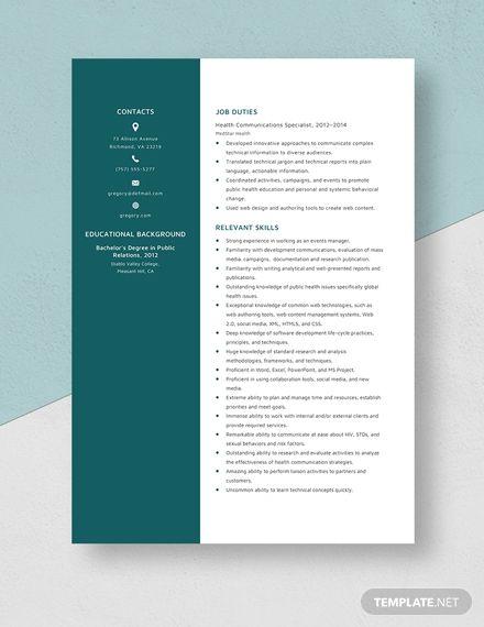 health communication specialist resumecv template  word