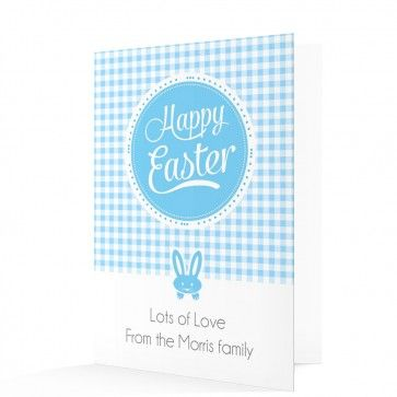 Blue Gingham Happy Easter Card from able-labels.co.uk