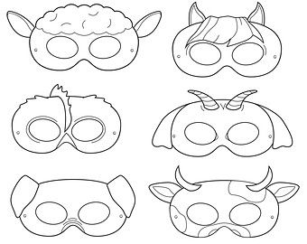 Barnyard Animals Printable Masks Black And White Farm Animal Mask Costume