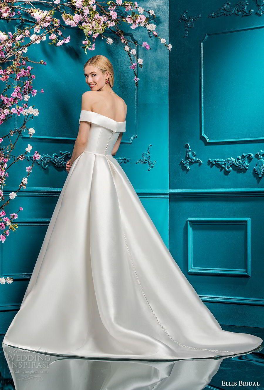 Ellis bridals off the shoulder straight across simple clean