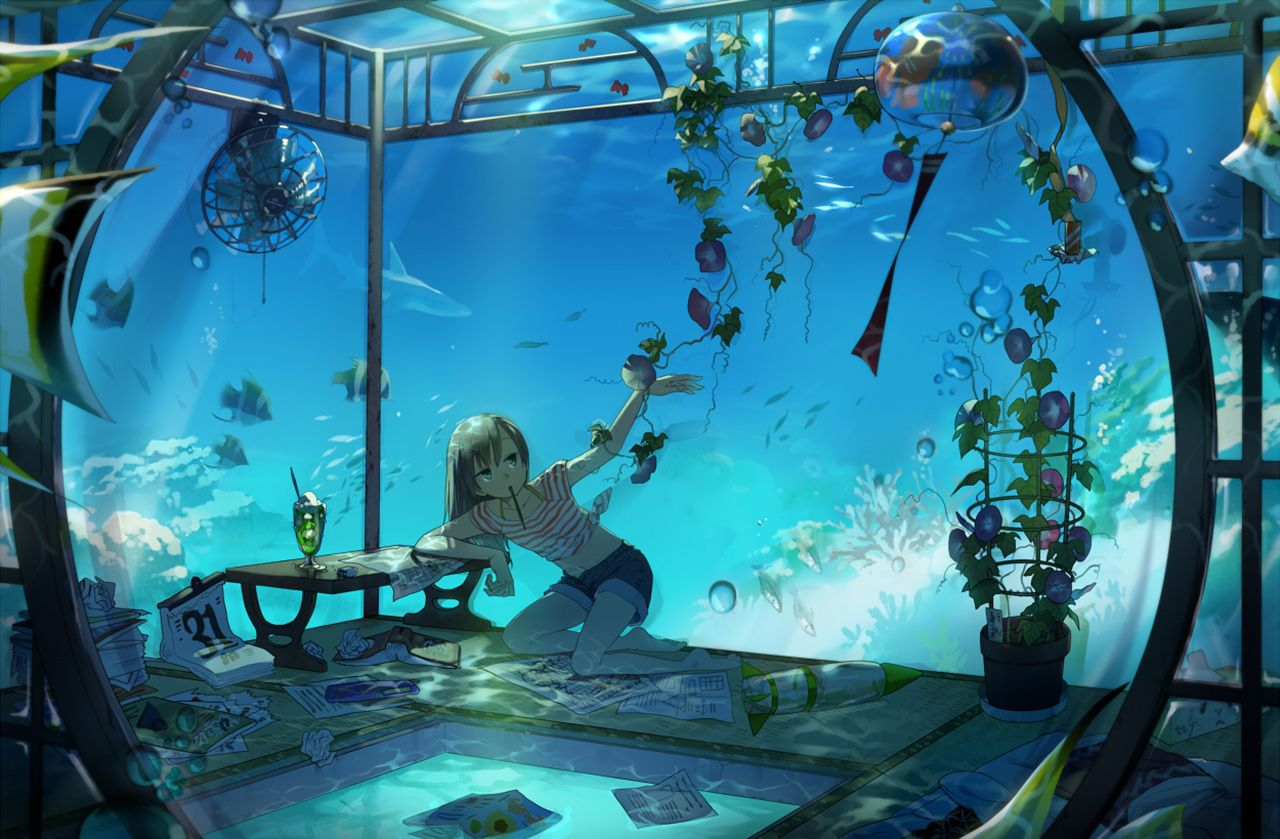 Anime Original Plant Fish Coral Shark Ocean Water Girl