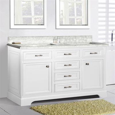 Golden Elite MIL60W Ct 60 In Milan Double Sink Bathroom Vanity