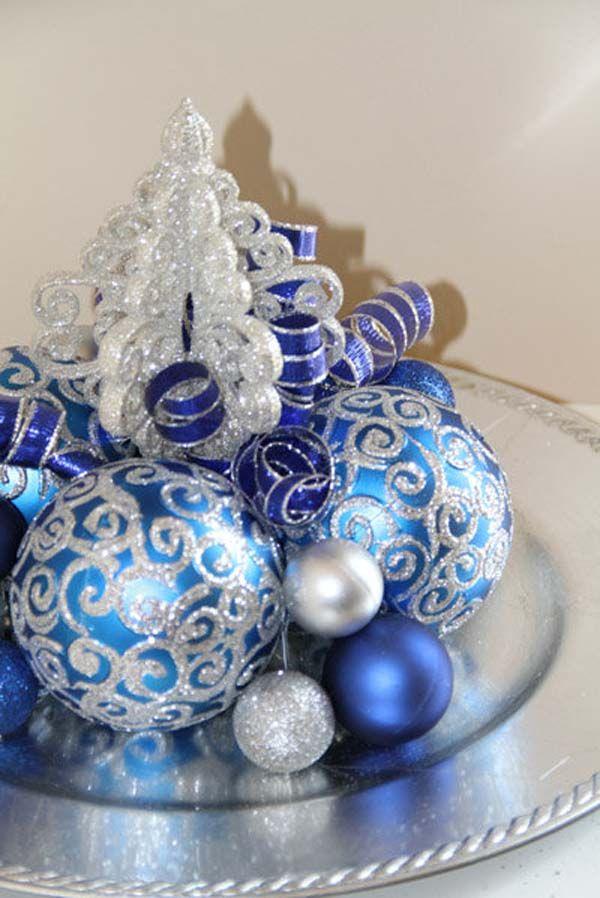 Blue Christmas Decorations Christmas Celebration All About Christmas Blue Christmas Decor Silver Christmas Decorations Christmas Centerpieces