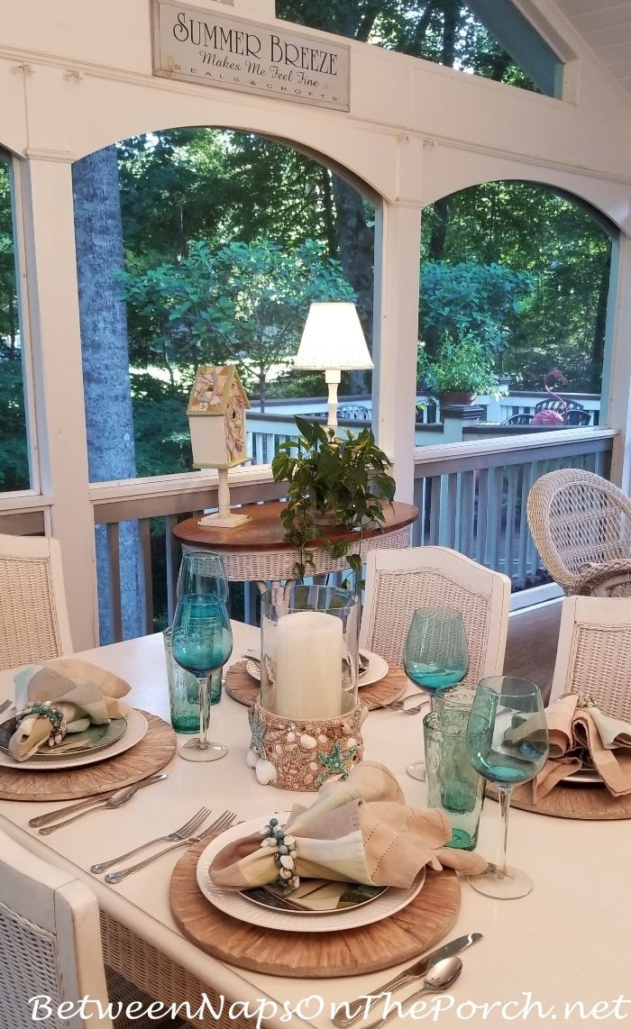 Between naps on the porch beach themed table setting