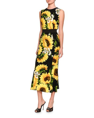 2e1cfd0f4d75 -72F5 Dolce & Gabbana Sleeveless Sunflower-Print Cady Top, Black/White Flared  Sunflower-Print Midi Skirt, Black/Yellow