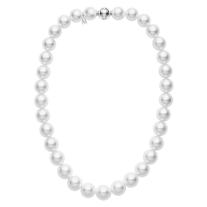 Mikimoto White South Sea and 18K White Gold Necklace