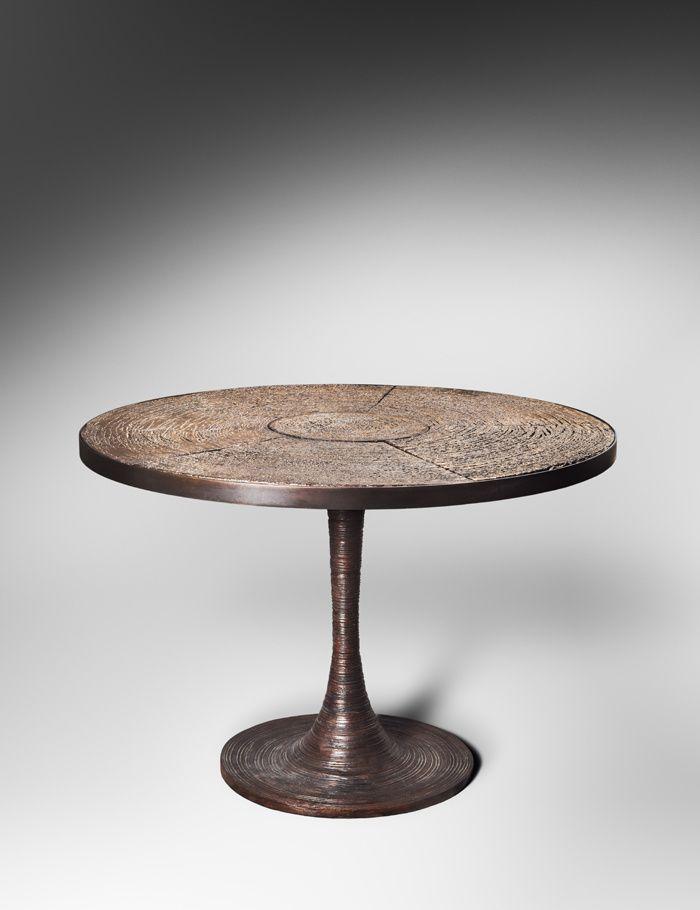 AD Collections, les pieces exposees : Guéridon en bronze et céramique (Chahan Minassian en collaboration avec l'artiste Peter Lane)