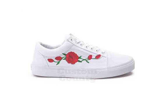 White Vans Old Skool Custom Rose