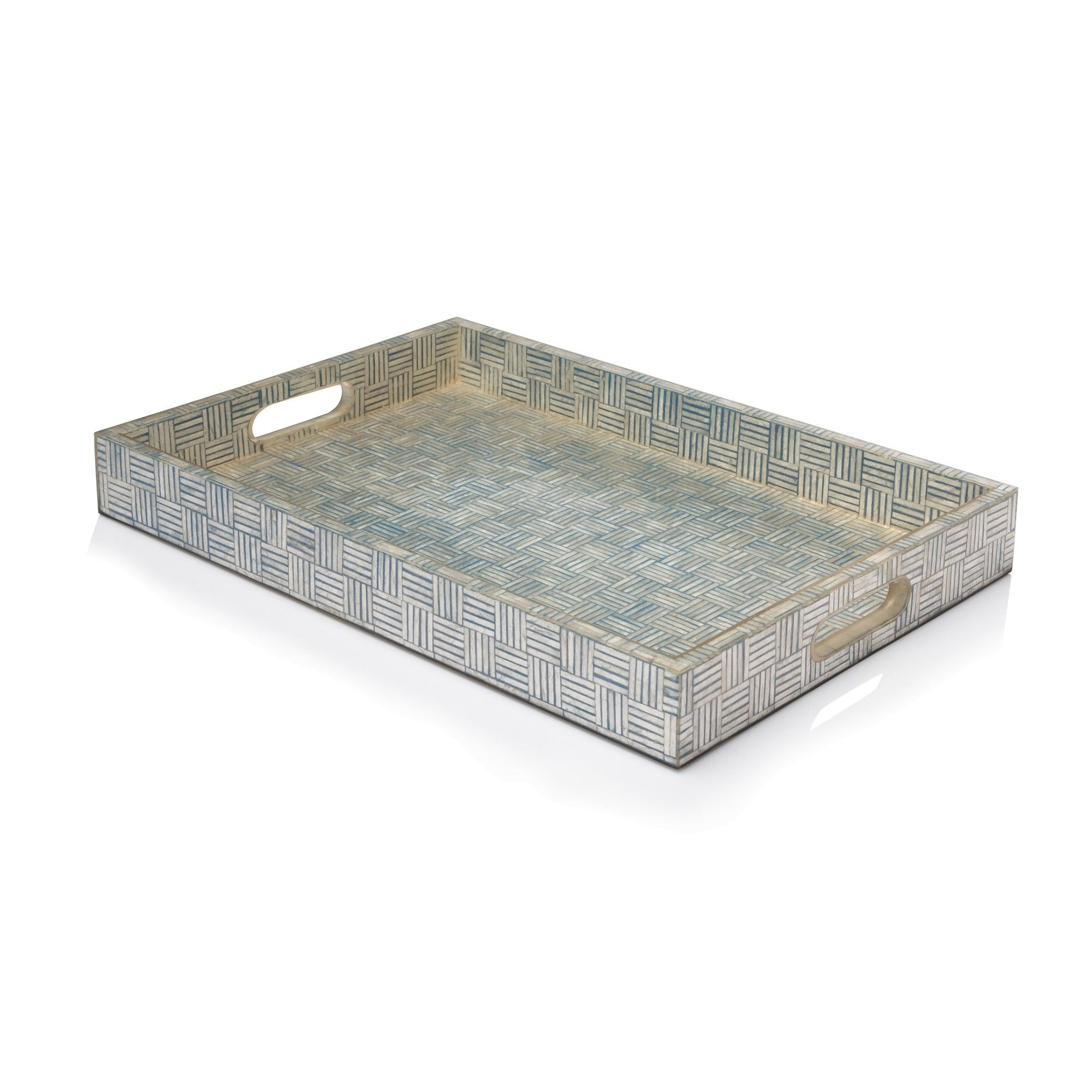 White Decorative Tray Decorative Tray With Intricate Inlay Of Turquoise And White Capiz