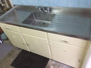 1950 S Vintage Kitchen Sink Unit With Stainless Steel Top And Cupboards Ebay