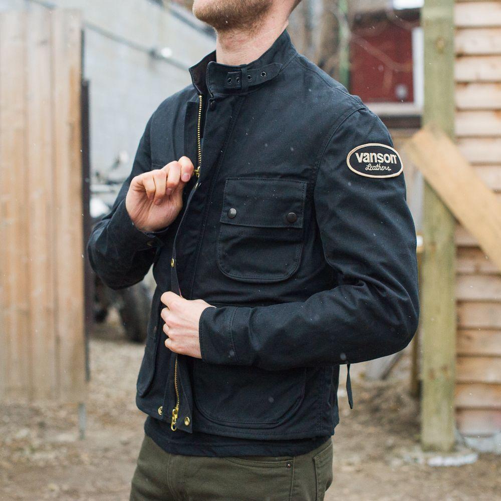 d6c33063a Vanson Dover Black Waxed Canvas Jacket | wear in 2019 | Waxed canvas ...