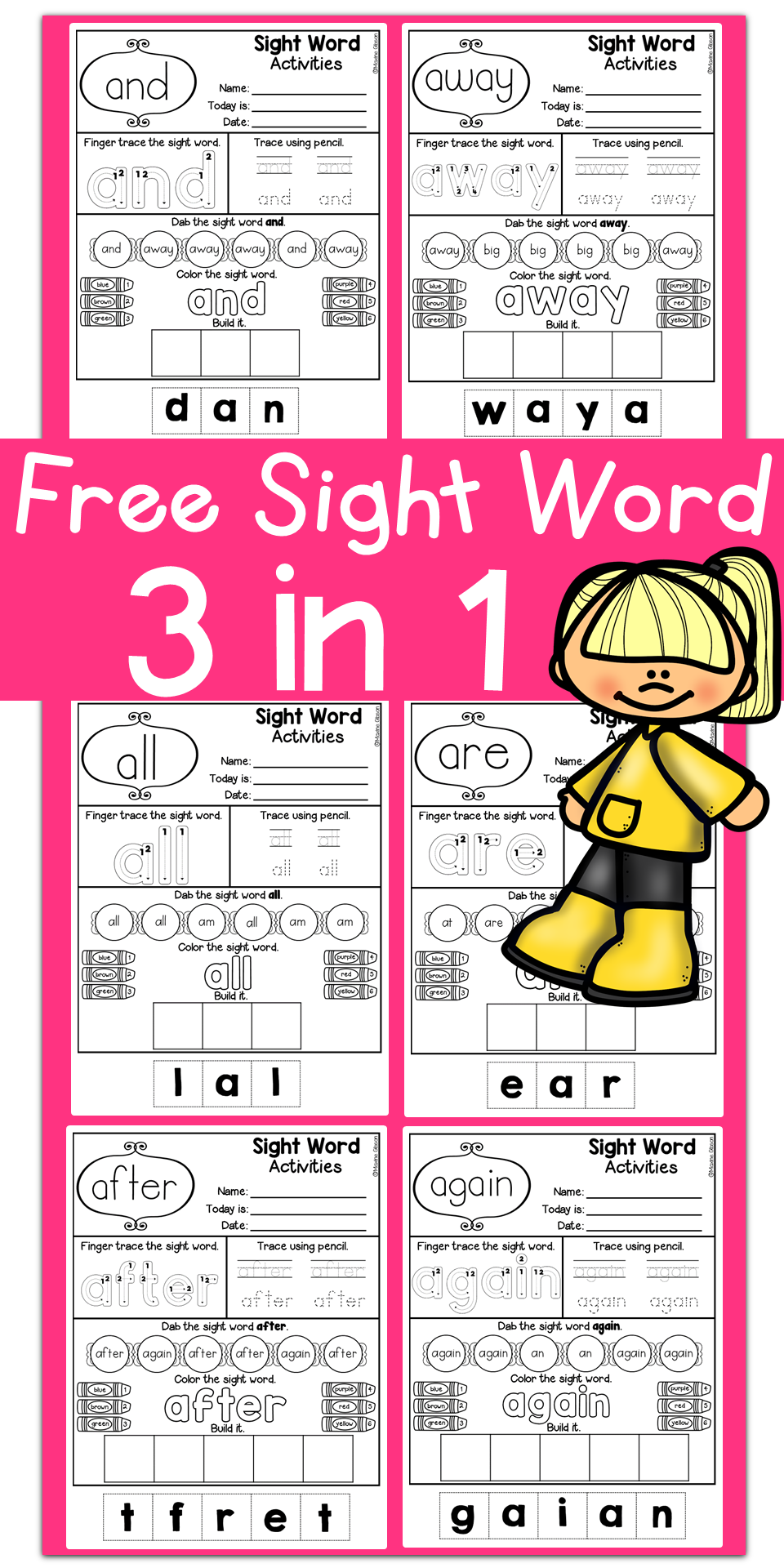 Free Kindergarten Sight Word Practice. You will have 133 pages of ...