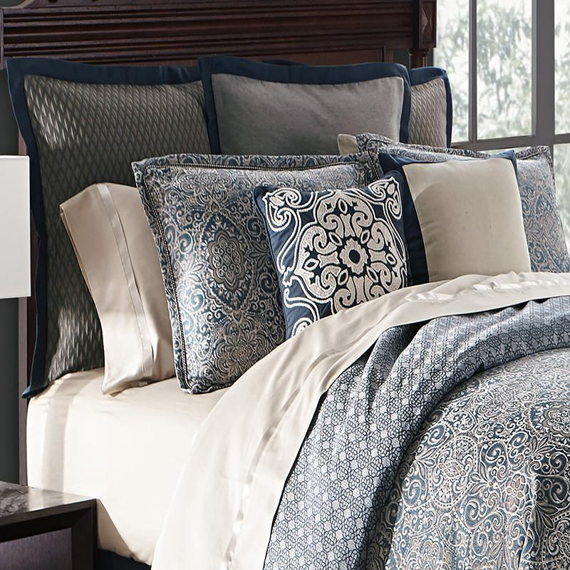 Comforter Sets Asher Navy 4 Piece Reversible Comforter Set By Waterford Latest Bedding Bed Linens Luxury Comforter Sets King Bedding Sets