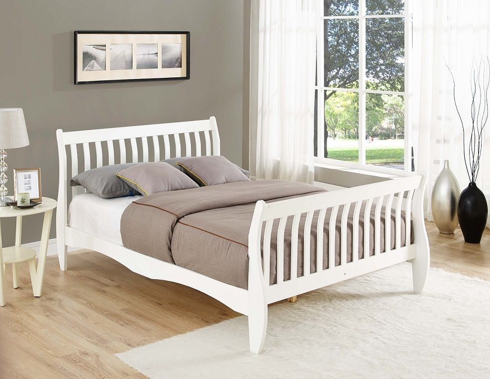 Details About Pine Bed Frame White Natural Single Double Or King