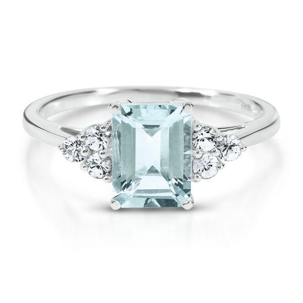 Aquamarine Lab Created White Sapphire Ring In 10k Gold Jewelry Aquamarine Engagement Ring Beautiful Jewelry