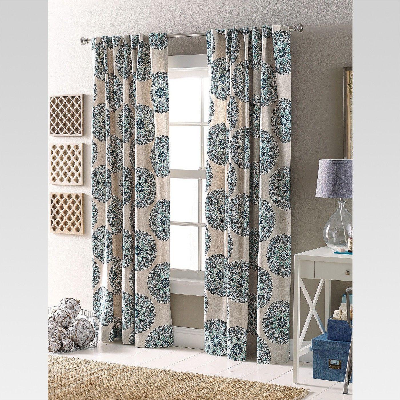 Twill Woven Medallion Curtain Panel Threshold Target Panel