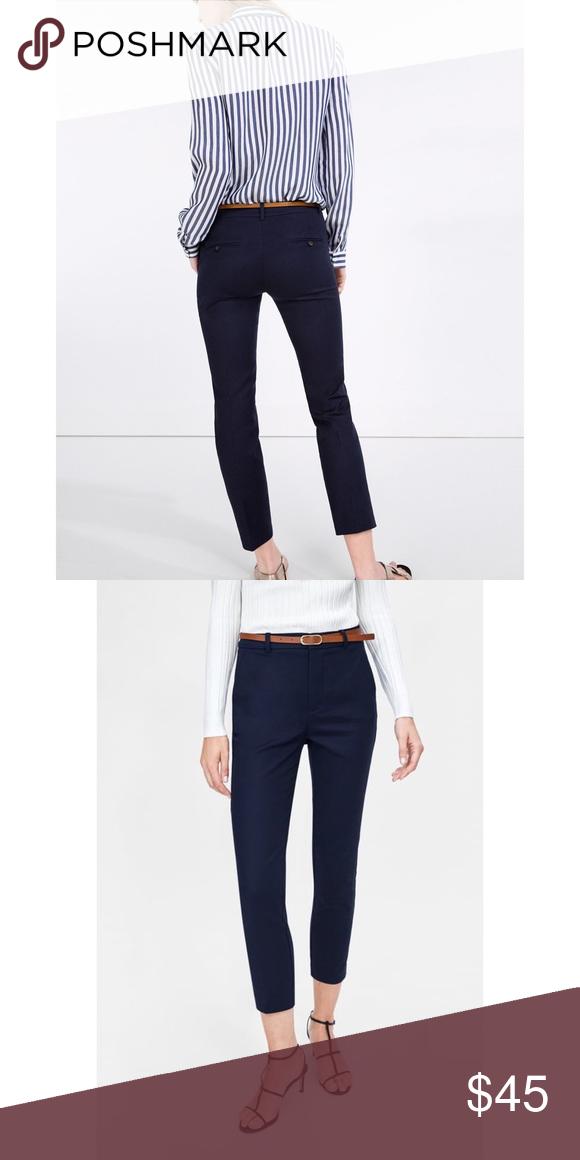 18b24ca7 Zara navy belted skinny ankle trouser pants Zara navy belted skinny ankle trouser  pants Zara navy