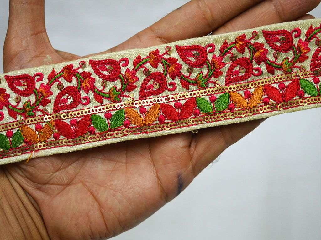 Wholesale Red Embroidered Ribbon Indian Laces Sari Border By 9 Yard Silk Decorative Saree Border Sewing Trim Crafting Trimmings For Dresses